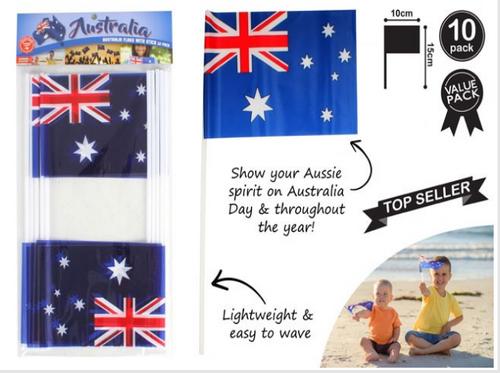 AUSTRALIAN FLAGS PK10 PE SMAL W/STICK SIZE 15X10CM