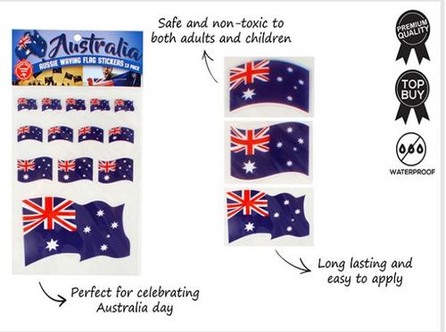 AUSSIE WAVING FLAG STICKERS 13PK
