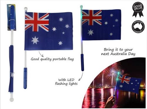 AUSSIE DAY LED FLASHING FLAG  43 L X 28 W
