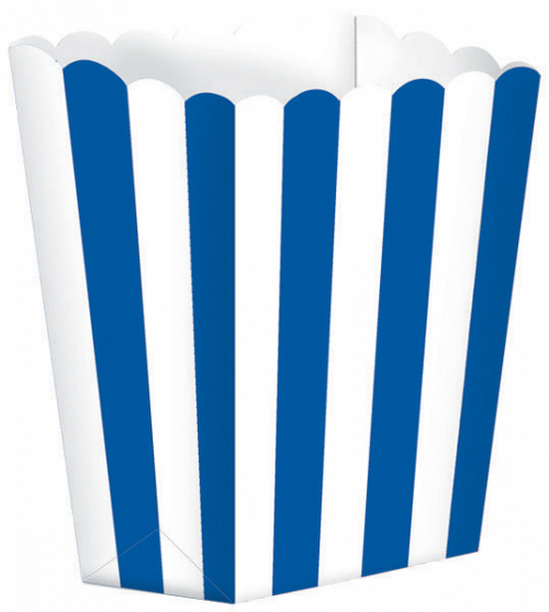 POPCORN FAVOR BOXES SMALL STRIPED BRIGHT ROYAL BLUE