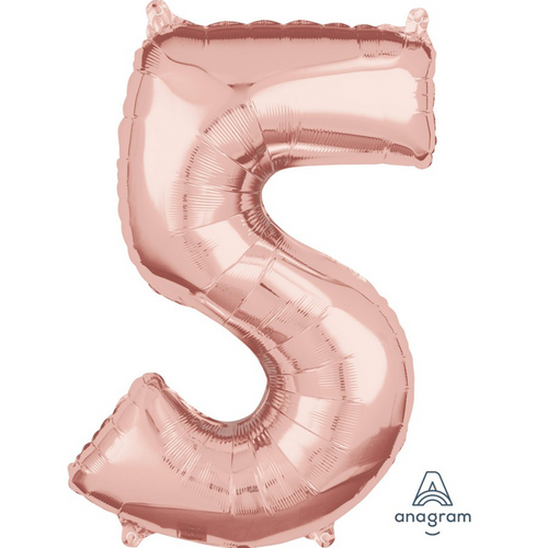 Mid-Size Shp Rose Gold Number 5