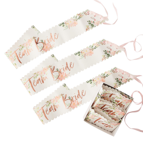 GR Floral Hen Party Team Bride Sashes
