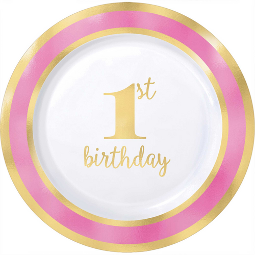 1st BDAY Pink H-S 7 1/2in/19cm