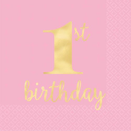 1st BDAY Pink H-S L/Napkin