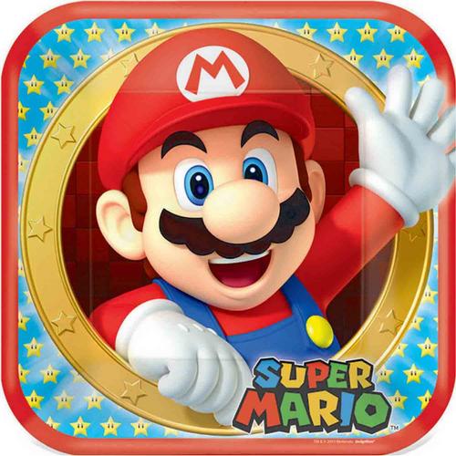 Super Mario Bros 9in/23cm Square Plates