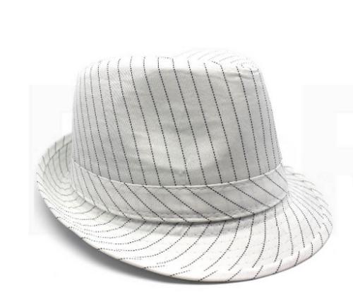 Trilby Hat with Stripe Design (White)