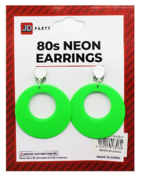 Neon 80s Earrings (Green)