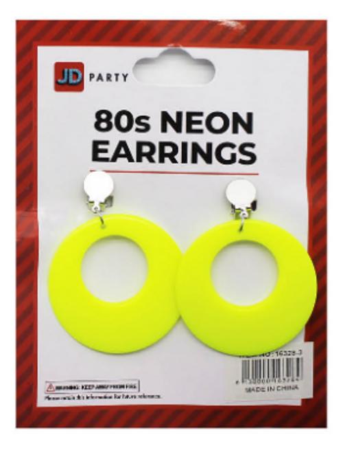 Neon 80s Earrings (Yellow)