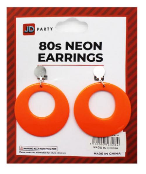 Neon 80s Earrings (Orange)