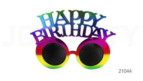 Party Glasses Happy Birthday Rainbow Metallic