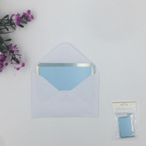 3pk BIue Mini Blank Cards with envelopes (6cm x 9cm)