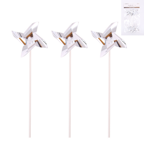 *6 Silver Windmill Topper
