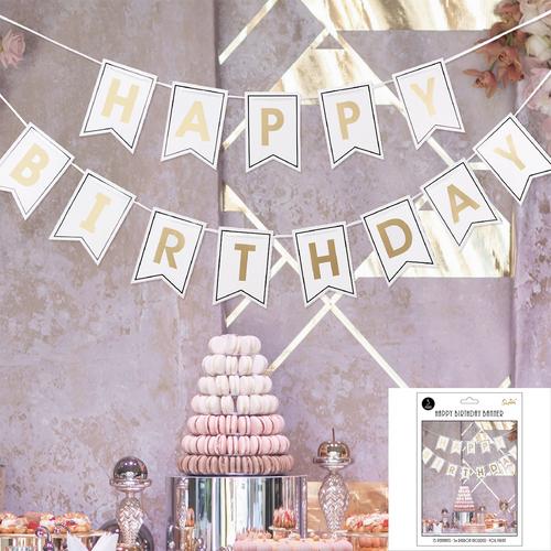 *White & Gold Foil Birthday Bunting
