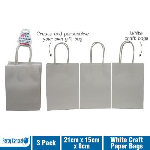 Craft Paper Bags White 21cm x 15cm x 8cm 3pk