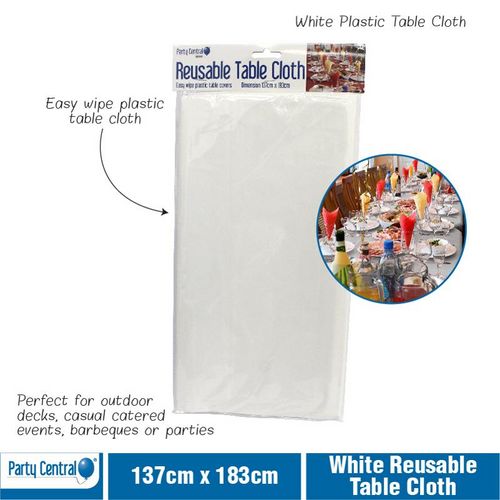 Table Cloth Reusable 137x183cm White Only