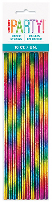 RAINBOW FOIL 10 PAPER STRAWS