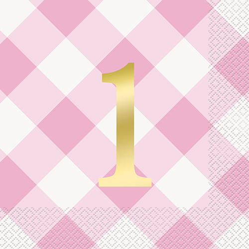 PINK GINGHAM 1ST BDAY 16 LUN NAPKIN