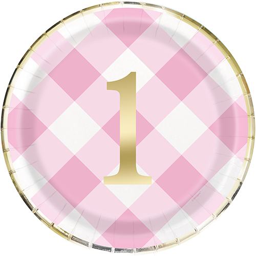 "PINK GINGHAM 1ST BDAY FOIL 8 x 9"" PLATE"