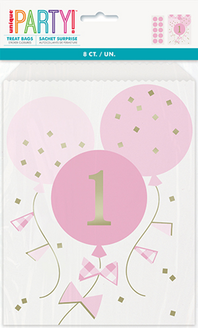 PINK GINGHAM 1ST BDAY 8 TREAT BAGS