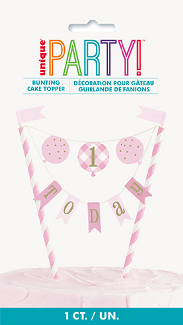 PINK GNGHM 1ST BDAY BUNTING C/TOPPER