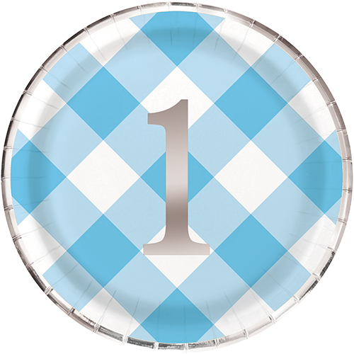 """BLUE GINGHAM 1ST BDAY FOIL 8 x 9"""" PLATE"""