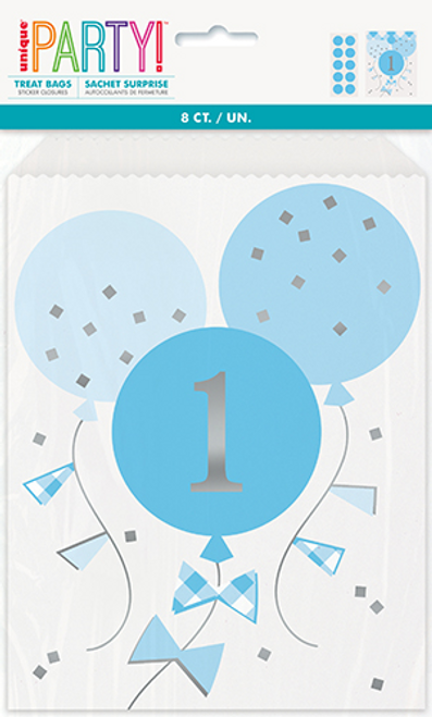 BLUE GINGHAM 1ST BDAY 8 TREAT BAGS