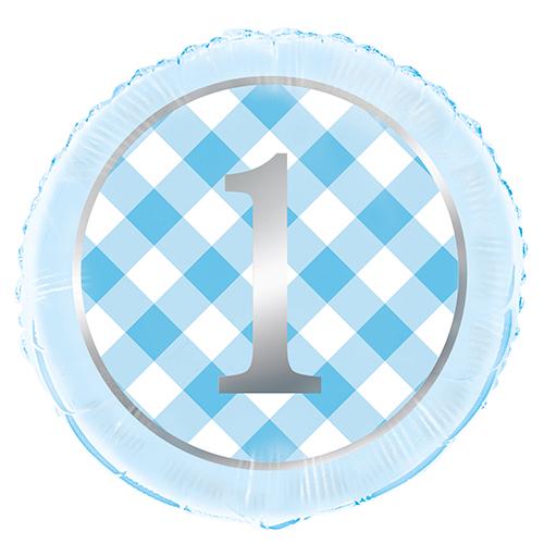 """BLUE GINGHAM 1ST BDAY 18"""" FOIL BLN PKG"""