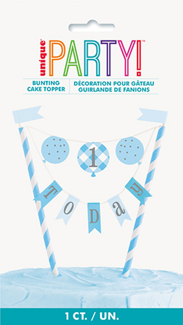 BLUE GNGHM 1STBDAY BUNTING C/TOPPER