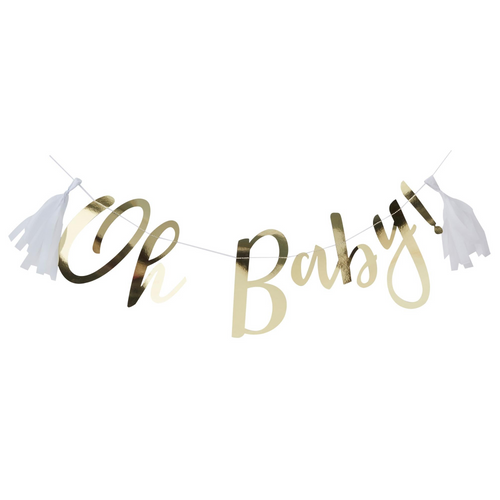 Oh Baby Gold Bunting 1.5m & 2 Tassels