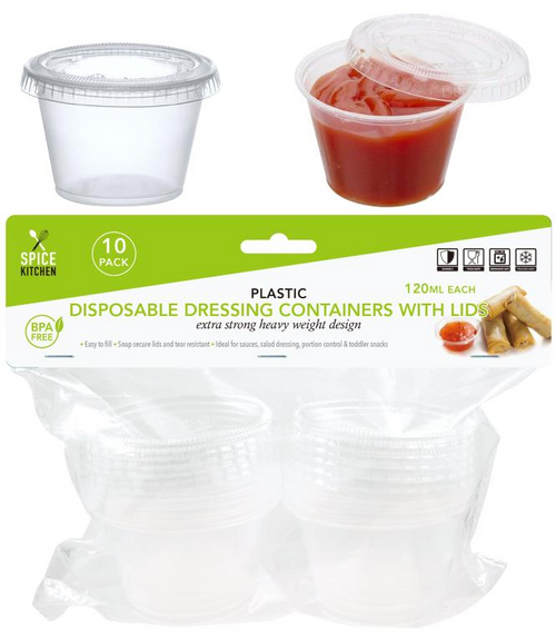 Mini Disposable Dressing Containers With Lids - 120ML-10PK