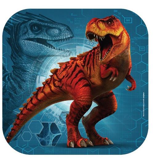 Jurassic World 9in/23cm Squ Plate 8pk