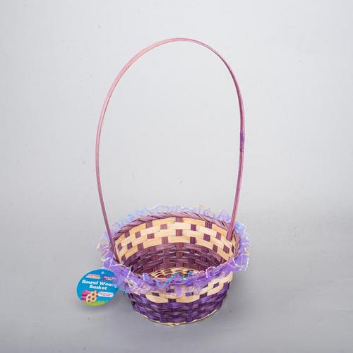 Basket Weave Round With Handle & Organza Trim 20cm x 10cm x 38cm