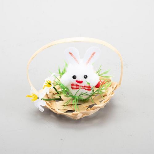 Easter Chicken & Bunny In Basket 5cm x 7cm