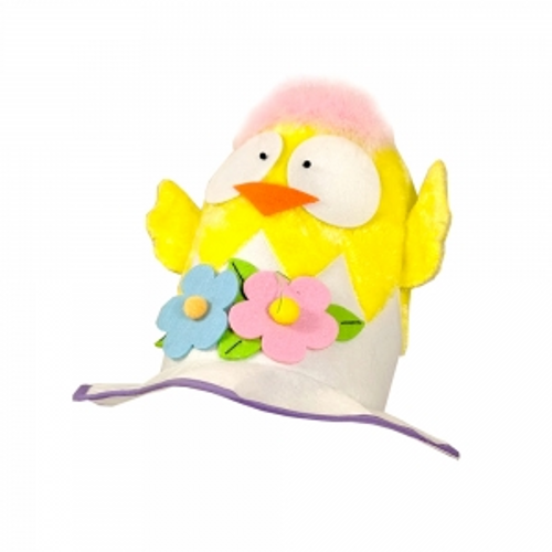 EASTER CHICKEN HAT W/ GOGGLY EYES WITH HANG TAG