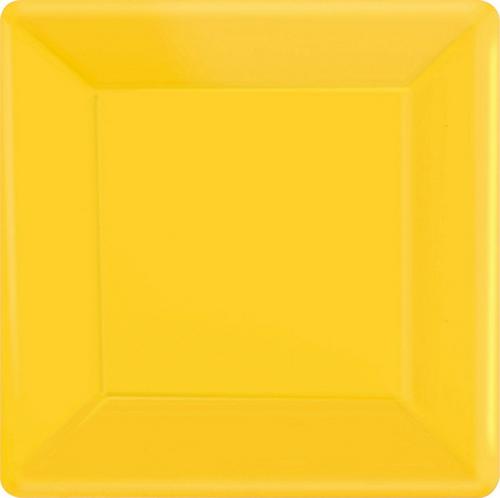 Ppr Plates 10in/26cm Squ 20CT-Yellow
