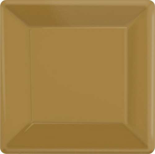 Ppr Plates 10in/26cm Squ 20CT-Gold