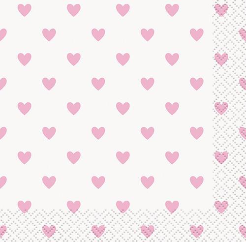 PINK HEARTS 16 BEV NAPKINS