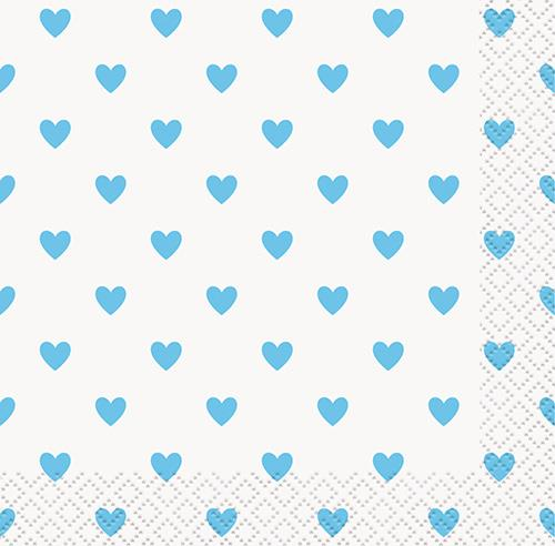 BLUE HEARTS 16 BEV NAPKINS