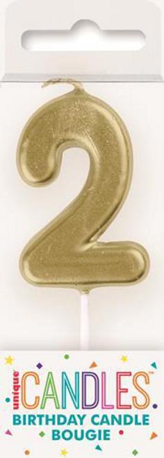 MINI GOLD NUMERAL CANDLE - 2
