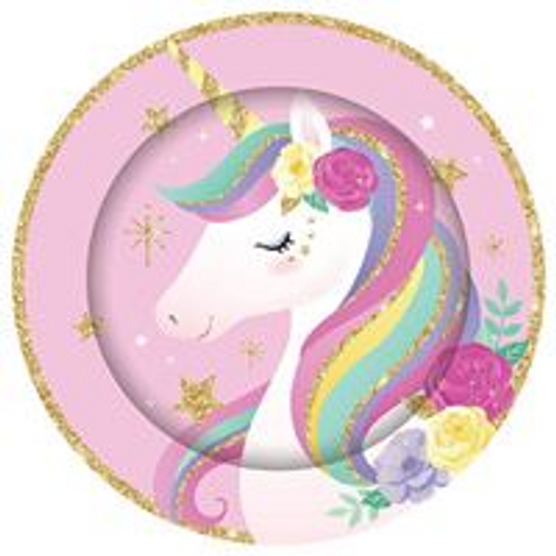 FSC MIX PLATES 8PK UNICORN