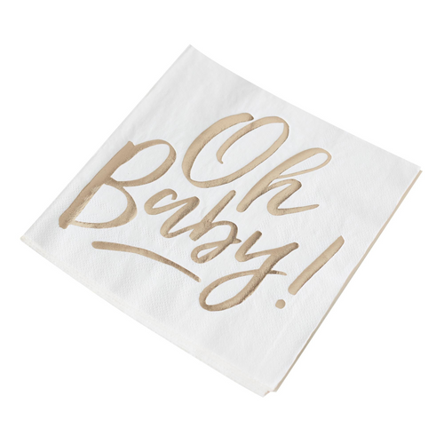 GR Oh Baby! Gold H-S Napkins