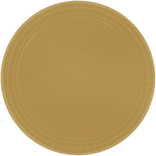 Ppr Plates 9in/23cm Rnd 8CT - Gold