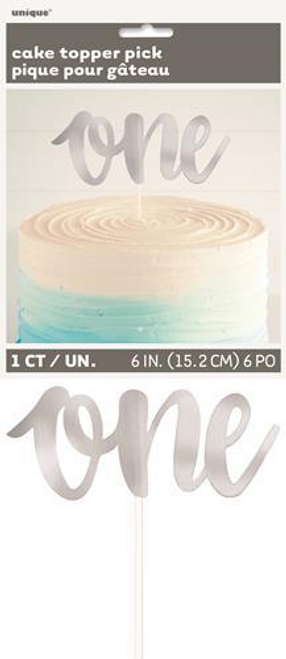 SILVER FOIL ONE CAKE TOPPER