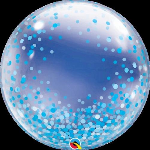 """24"""" DECO BUBBLE BLUE CONFETTI DOTS"""