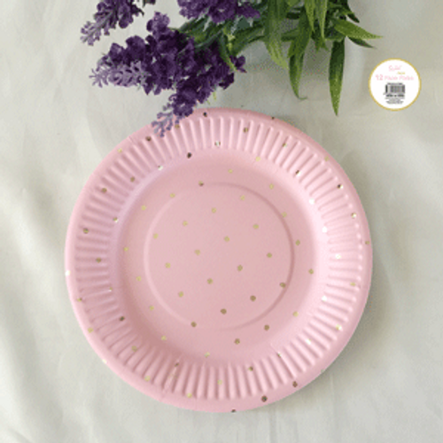 *12pk 18cm Pink Dotty Paper Plate with Gold Foiled