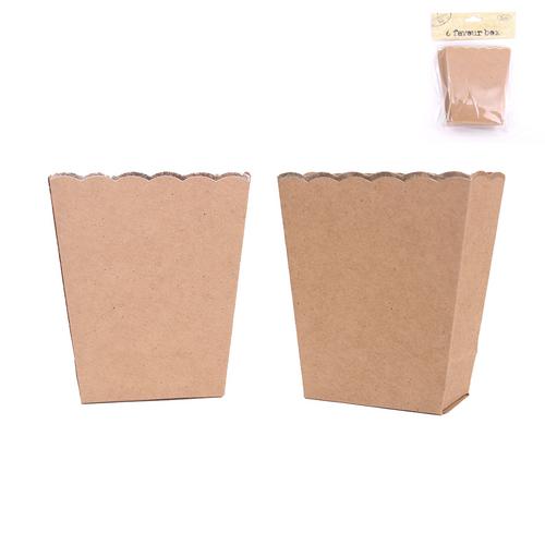 *6pk Kraft Favour Box - 11cm Long & 9.5cm Wide (Top)
