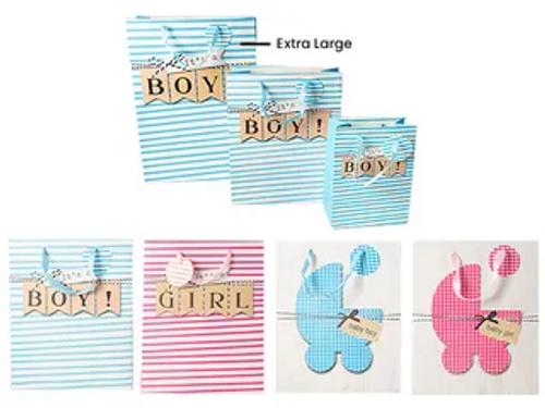 XL STRIPE PRAM BABY GIFT BAG W/GLITTER