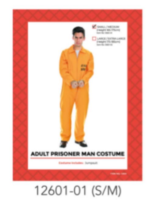 Adult Prisoner Costume (Orange) (S/M)