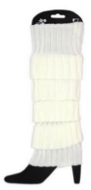 Plain Leg Warmer (Chunky Knit) (White)