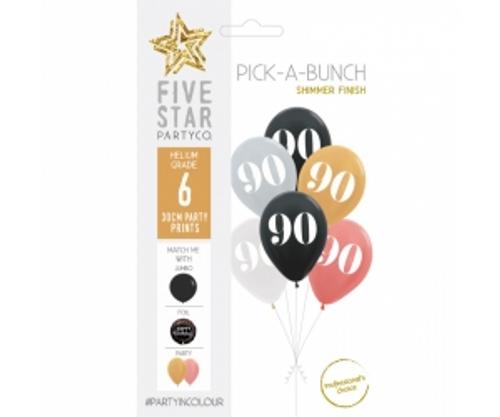 PICK-A-BUNCH 90th Birthday 30cm Asst 6pk